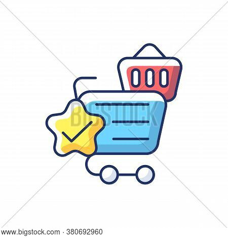 Quality Online Shopping Rgb Color Icon. Internet Store Best Service. Cart And Trolley With Checkmark