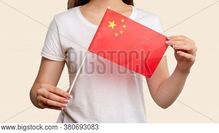 China Flag. Communism Society. Woman In White Holding Five-starred Red Official National Republic Sy
