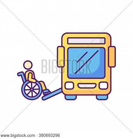 Bus Ramp Rgb Color Icon. Bus Wheelchair Ramp. Vertical Platform Lift. Accessibility Device. Convenie