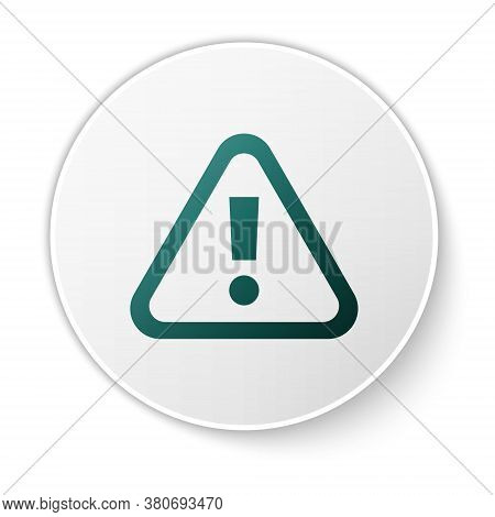 Green Exclamation Mark In Triangle Icon Isolated On White Background. Hazard Warning Sign, Careful,