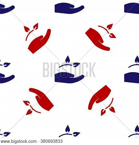 Blue And Red Leaf In Hand Of Environmental Protection Icon Isolated Seamless Pattern On White Backgr