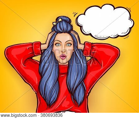 Pop Art Surprised Girl In Red Sweatshirt With Wide Open Eyes And Mouth On Yellow Background. Young P