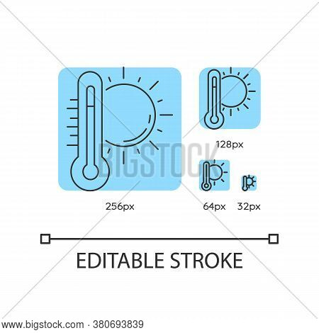 Hot Weather Turquoise Linear Icons Set. Summer Heat, Seasonal Forecasting. Thermometer With Sun. Thi