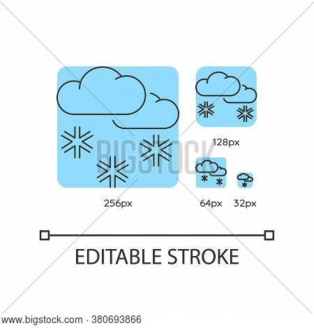 Scattered Snow Turquoise Linear Icons Set. Winter Weather Forecast. Cloud Raining Snowflakes. Thin L