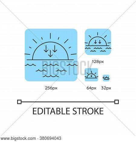Sunset Turquoise Linear Icons Set. Sundown, Weather Forecasting. Sea, Ocean At Dusk. Sun Setting. Th
