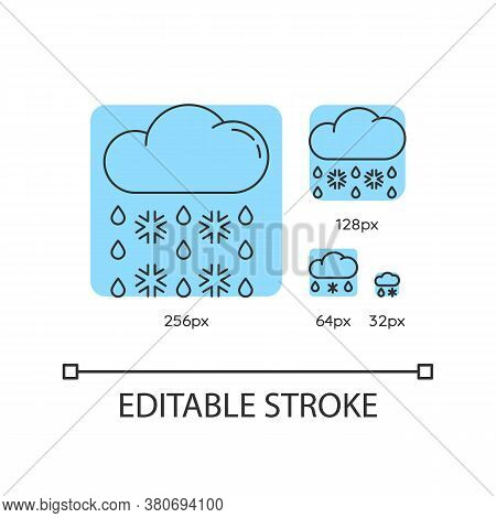 Heavy Snow, Sleet Turquoise Linear Icons Set. Weather Forecast. Cloud With Snowflakes, Raindrops. Th