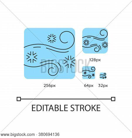 Blowing Snow Turquoise Linear Icons Set. Windy Weather Forecast. Cold Wind With Snowflakes. Thin Lin