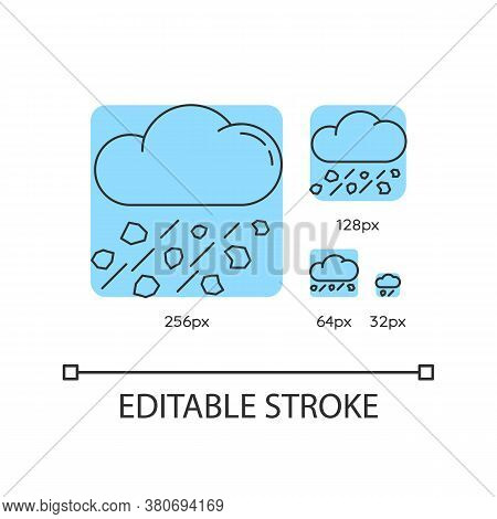 Mixed Rain Turquoise Linear Icons Set. Hailstorm, Meteorology. Raining Cloud With Hail. Thin Line Cu