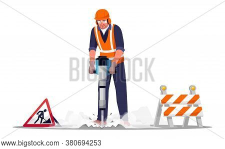 Road Repair Worker Semi Flat Rgb Color Vector Illustration. Workman Drilling Concrete With Heavy Mac