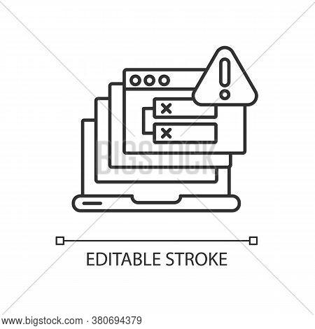 Internal Server Error Linear Icon. Http Status Code, 500 Error Thin Line Customizable Illustration.