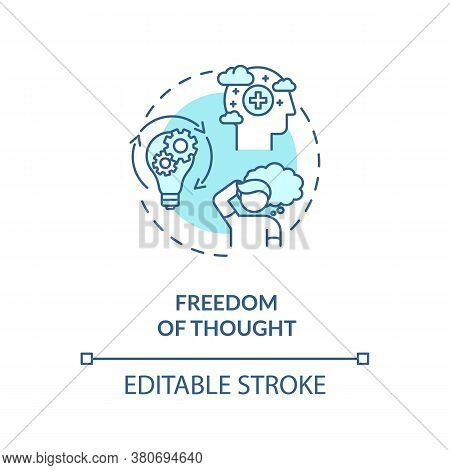 Freedom Of Thought Concept Icon. Conscience Freedom Idea Thin Line Illustration. Autonomous Viewpoin