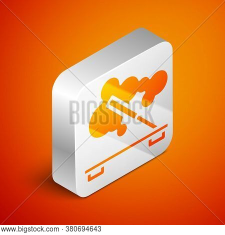 Isometric Scented Spa Stick On A Wooden Stand Icon Isolated On Orange Background. Incense Stick. Cos