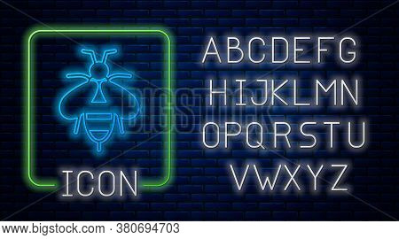 Glowing Neon Bee Icon Isolated On Brick Wall Background. Sweet Natural Food. Honeybee Or Apis With W