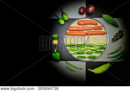 74th India Independence Day 15 August Concept Indian National Flag Tricolor From Vegetables With Bla