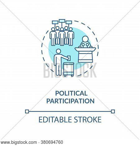 Political Participation Concept Icon. Political Involvement Idea Thin Line Illustration. Demonstrati