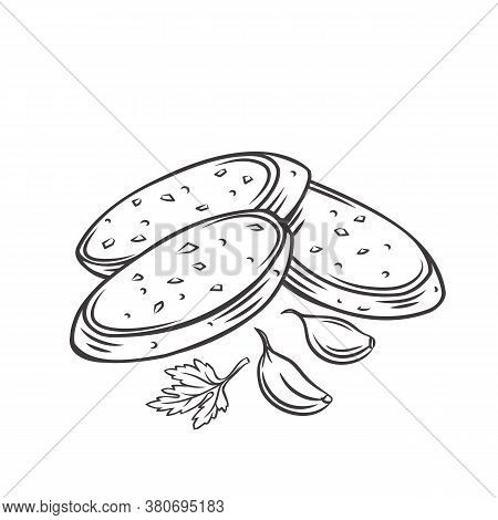 Crunchy Garlic Bread With Garlic Cloves And Parsley. Outline Vector Illustration Of Fried French Bag