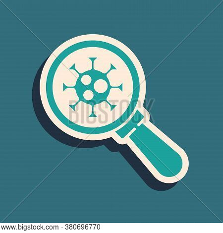 Green Virus Under Magnifying Glass Icon Isolated On Green Background. Corona Virus 2019-ncov. Bacter