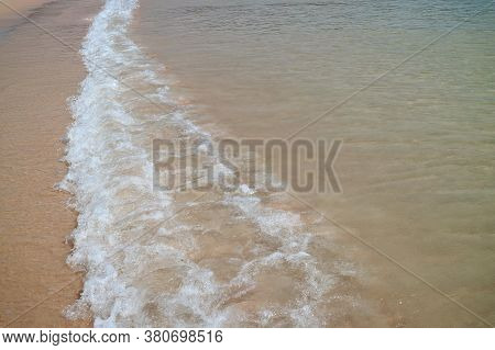 Clear Sea Foam Of The Pacific Ocean Waves Crashing Anakena Beach, Easter Island, Chile, South Americ