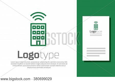 Green Line Smart Home With Wireless Icon Isolated On White Background. Remote Control. Internet Of T