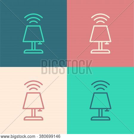 Pop Art Line Smart Table Lamp System Icon Isolated On Color Background. Internet Of Things Concept W
