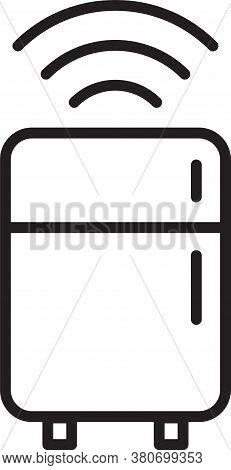 Black Line Smart Refrigerator Icon Isolated On White Background. Fridge Freezer Refrigerator. Intern