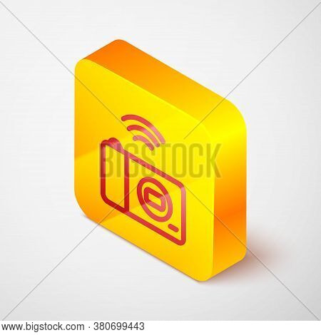 Isometric Line Smart Photo Camera System Icon Isolated On Grey Background. Internet Of Things Concep