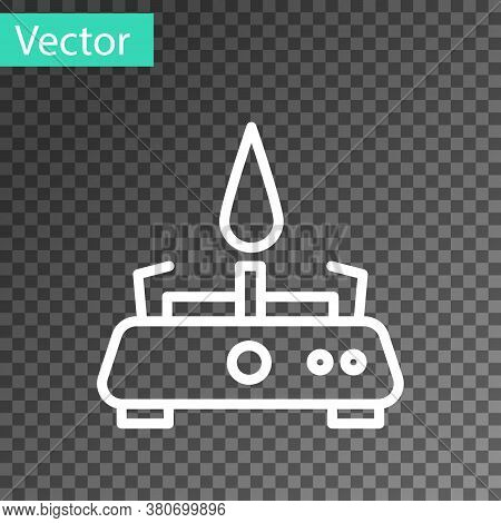 White Line Camping Gas Stove Icon Isolated On Transparent Background. Portable Gas Burner. Hiking, C