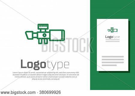 Green Line Sniper Optical Sight Icon Isolated On White Background. Sniper Scope Crosshairs. Logo Des