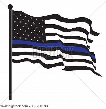 An American Flag Symbolic Of Support For Law Enforcement,usa Flag Vector.illustration Eps10.