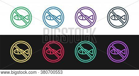 Set Line No Fishing Icon Isolated On Black And White Background. Prohibition Sign. Vector