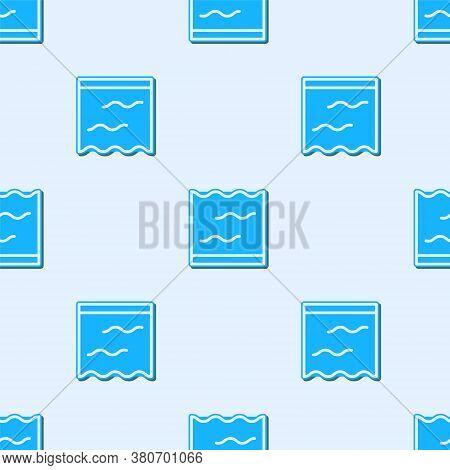 Blue Line Aquarium Icon Isolated Seamless Pattern On Grey Background. Aquarium For Home And Pets. Ve