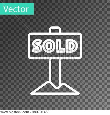 White Line Hanging Sign With Text Sold Icon Isolated On Transparent Background. Sold Sticker. Sold S