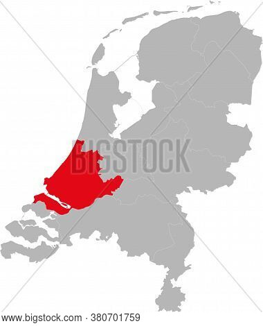 Zuid-holland Netherlands Province Highlighted On Netherlands Political Map. Backgrounds, Charts, Bus