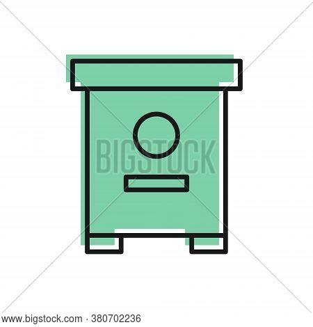 Black Line Hive For Bees Icon Isolated On White Background. Beehive Symbol. Apiary And Beekeeping. S