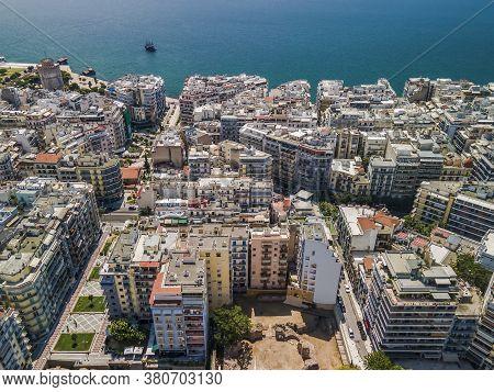 Thessaloniki, Greece Aerial Drone View Of City Center Navarino Area & White Tower Landmark. Day Top