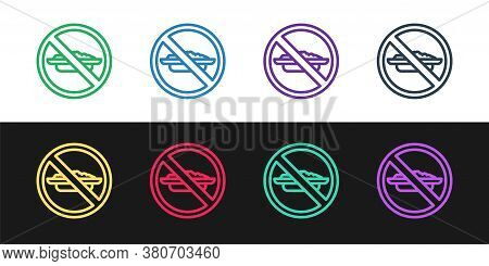Set Line Food No Diet Icon Isolated On Black And White Background. Healing Hunger. Vector