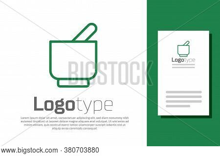 Green Line Mortar And Pestle Icon Isolated On White Background. Logo Design Template Element. Vector