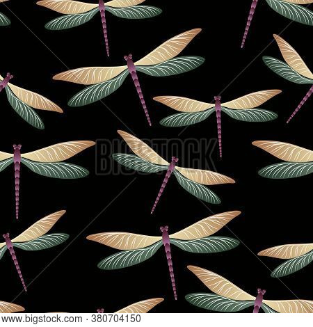 Dragonfly Cartoon Seamless Pattern. Spring Clothes Fabric Print With Flying Adder Insects. Flying Wa