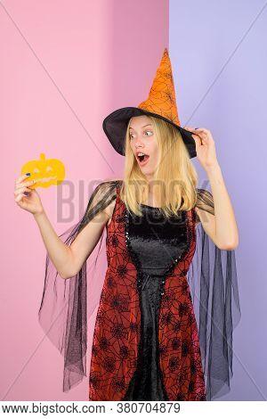 Halloween Advertising. Woman With Paper Pumpkin. Trick Or Treat. Happy Halloween. Halloween Party Gi