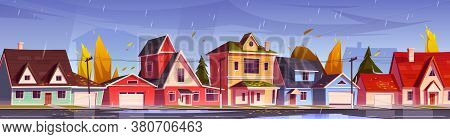 Street In Suburb District With Residential Houses And Yellow Trees. Vector Cartoon Autumn Landscape