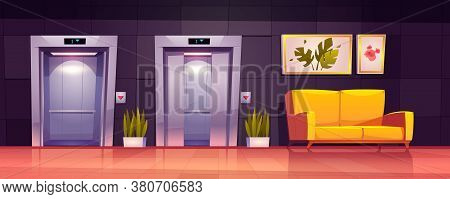 Empty Hallway Interior With Open Elevator Doors, Yellow Sofa And Plants. Vector Cartoon Illustration