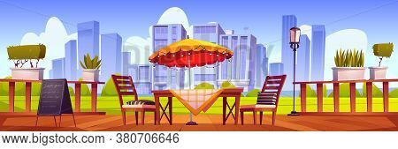Summer Terrace, Outdoor City Cafe, Coffeehouse With Wooden Table, Chairs And Umbrella, Plants And Ch