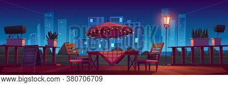 Cafe Or Restaurant Terrace With Table, Umbrella And Chairs At Night. Vector Cartoon Illustration Wit