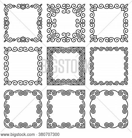 Vector Set Of Square Frames In Oriental Style. Beautiful Elegant Linear Abstract Ornament. Modern Pa