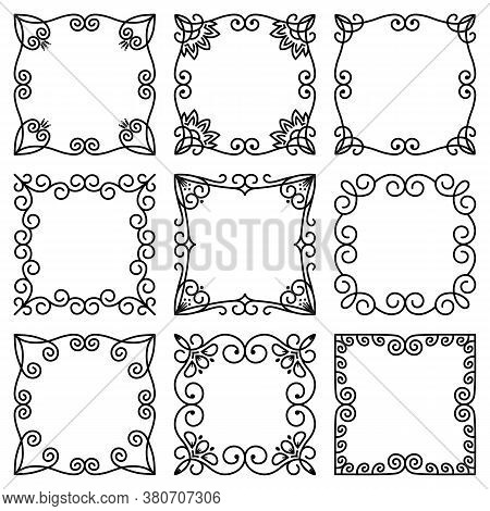 Vector Set Of Square Frames. Beautiful Elegant Floral Ornament. Abstract Flowers, Leaves. Modern Pat