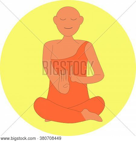 Buddha Monk Happily At Peace Showing Hands Meditating With His Robe With A Circle And No Background