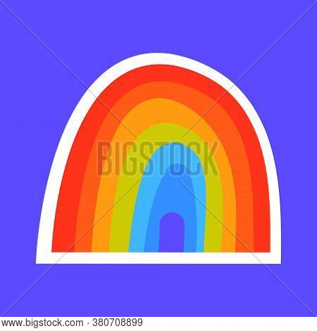 Colored Rainbow On A Blue Background. Sticker Vector Illustration Rainbow Hand Drawn Merging Sun Rai