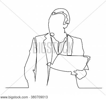 Man Reading A Newspaper Line Illustration. Single Line Drawing Of A Man With Newspaper. One Line Vec