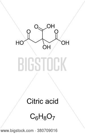 Citric Acid, Chemical Structure And Formula. Weak Organic Acid, Naturally In Citrus Fruits. Intermed