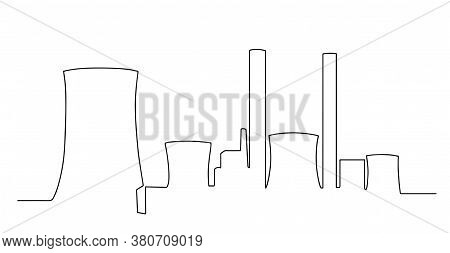 Industrial Plant In Continuous Line Art Drawing Style. Abstract Factory Buildings Minimalist Black L